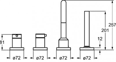 Hansa Hansadesigno afdekset 4-gats badrandcombinatie chroom-zwart 53122077