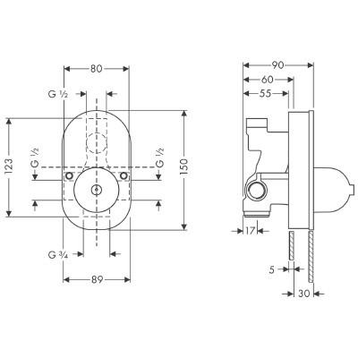 Hansgrohe Universeel inbouw basisgarnituur voor badkraan 31741180