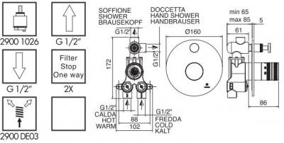 Zazzeri Pop 2- weg Inbouwthermostaat met omsteller Mat zwart 1208760812