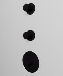 Zazzeri 3 wegs inbouwthermostaatkraan met 1 stopkraan 1 omsteller ronde knop en plaat mat zwart 1208847002
