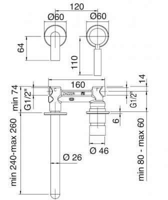 Zazzeri Da-Da Mono inbouw wastafelmengkraan mat zwart 26cm 1208914922