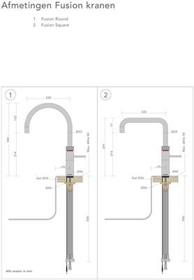 Quooker COMBI+ Classic Fusion Square chroom 22+CFSCHR technische tekening