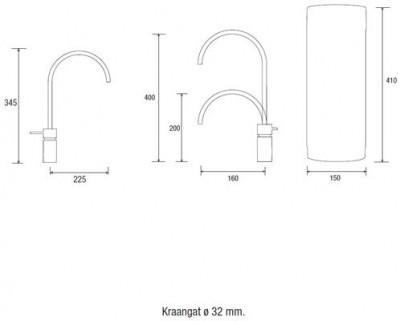 Quooker PRO3 en CUBE Nordic Twintaps Round  chroom 3NRCHRTT CUBE technische tekening