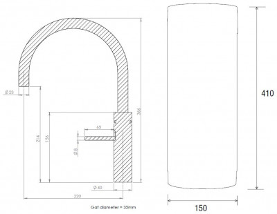 Quooker PRO3 en CUBE Fusion Round  chroom 3FRCHR CUBE technische tekening