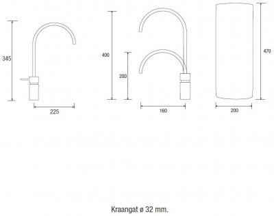 Quooker COMBI en CUBE Nordic Square Twintaps  chroom 22NSCHRTT CUBE technische tekening