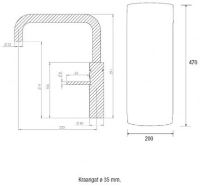 Quooker COMBI en CUBE Fusion Square  chroom 22FSCHR CUBE technische tekening