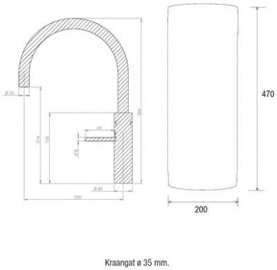 Quooker COMBI en CUBE Fusion Round  chroom 22FRCHR CUBE technische tekening