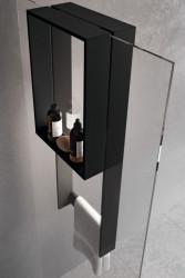 Design Bath douchenis doucherek en handdoekrek RVS-look voor over douchewand 1208953292