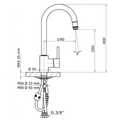 Design Keukenkraan met uittrekbare perlator D1545